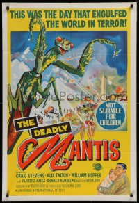 1f008 DEADLY MANTIS Aust 1sh 1957 classic art of giant insect attacking Washington D.C.!