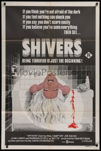 1f012 THEY CAME FROM WITHIN Aust 1sh 1976 David Cronenberg, art of terrified girl in bath, Shivers!