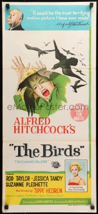 1f014 BIRDS Aust daybill 1963 director Alfred Hitchcock shown, Tippi Hedren, attack artwork!