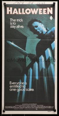 1f016 HALLOWEEN Aust daybill 1979 John Carpenter classic, great image, the trick is to stay alive!