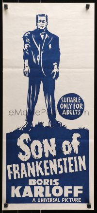 1f018 SON OF FRANKENSTEIN Aust daybill R1960s Boris Karloff, Bela Lugosi, completely different art!
