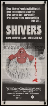1f019 THEY CAME FROM WITHIN Aust daybill 1976 David Cronenberg, art of scared girl in bath, Shivers!