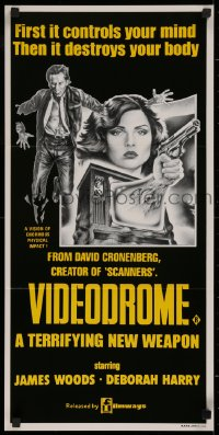1f020 VIDEODROME Aust daybill 1984 David Cronenberg, different art of James Woods & Debbie Harry!