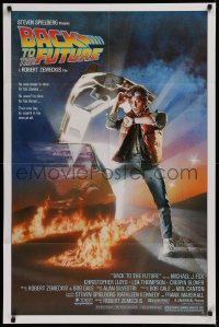 1f063 BACK TO THE FUTURE studio style 1sh 1985 art of Michael J. Fox & Delorean by Drew Struzan!