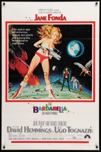 1f065 BARBARELLA 1sh 1968 sci-fi art of Jane Fonda by McGinnis, Roger Vadim, small credit style!