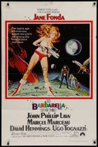 1f064 BARBARELLA 1sh 1968 sci-fi art of Jane Fonda by McGinnis, Roger Vadim, large credit style!