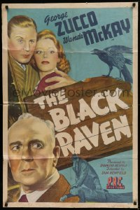 1f069 BLACK RAVEN 1sh 1943 art of George Zucco, Wanda McKay & Robert Livingston + bird on sign!