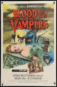 1f072 BLOOD OF THE VAMPIRE 1sh 1958 he begins where Dracula left off, Joseph Smith horror art!