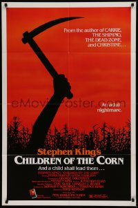 1f075 CHILDREN OF THE CORN 1sh 1983 Stephen King horror, an adult nightmare, cool sickle image!