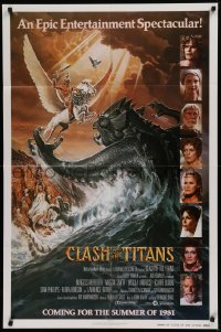 1f076 CLASH OF THE TITANS advance 1sh 1981 Ray Harryhausen, Goozee art, white credits design!