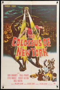 1f078 COLOSSUS OF NEW YORK 1sh 1958 great art of robot monster holding sexy girl & attacking!