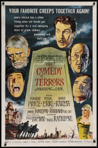 1f079 COMEDY OF TERRORS 1sh 1964 Boris Karloff, Peter Lorre, Vincent Price, Joe E. Brown, Tourneur!