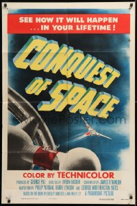 1f080 CONQUEST OF SPACE 1sh 1955 George Pal sci-fi, see how it will happen in your lifetime!