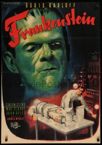 1f045 FRANKENSTEIN German R1957 different Rehak art of Boris Karloff as the monster, ultra rare!