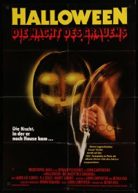 1f046 HALLOWEEN German 1979 John Carpenter classic, great different jack-o-lantern & knife art!