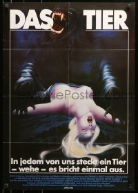 1f048 HOWLING German 1981 Joe Dante, wild different art of werewolf attacking female victim!