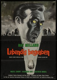 1f050 PREMATURE BURIAL German 1963 Edgar Allan Poe, cool Symeoni art of Ray Milland buried alive!