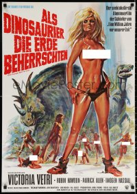 1f053 WHEN DINOSAURS RULED THE EARTH German 1971 Hammer, artwork of sexy cavewoman Victoria Vetri!