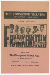 1f025 FRANKENSTEIN local theater herald 1931 Boris Karloff as the monster & top cast, ultra rare!
