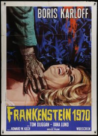 1f038 FRANKENSTEIN 1970 Italian 1p R1970 Karloff, different art of monster hand attacking woman!