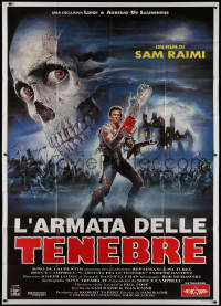 1f033 ARMY OF DARKNESS Italian 2p 1993 Sam Raimi, best different Sciotti art of Bruce Campbell!