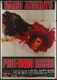 1f034 DEEP RED Italian 2p 1975 Dario Argento, gruesome art of killer reflection in pool of blood!