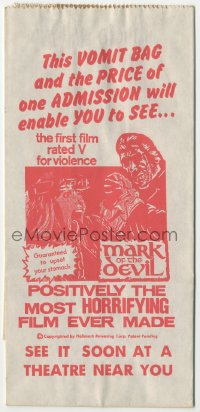 1f023 MARK OF THE DEVIL vomit bag 1970 this movie is guaranteed to upset your stomach!