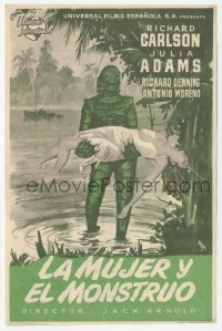 1f021 CREATURE FROM THE BLACK LAGOON 6x9 Spanish herald 1954 MCP art of monster & sexy Julie Adams!