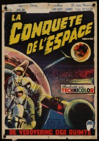 1g052 CONQUEST OF SPACE Belgian 1955 George Pal sci-fi, cool different astronaut art by Wik!