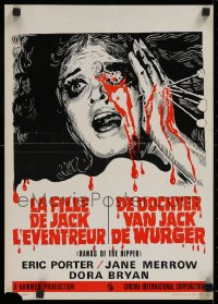 1g055 HANDS OF THE RIPPER Belgian 1971 Hammer, gruesome art of woman with bleeding eye, rare!