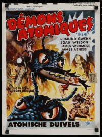 1g061 THEM Belgian 1955 classic sci-fi, cool art of horror horde of giant ant-monsters!