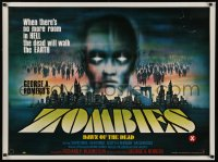 1g070 DAWN OF THE DEAD British quad 1980 George Romero, no more room in HELL, cool Chantrell art!