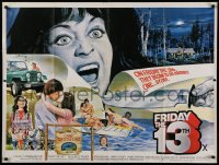 1g074 FRIDAY THE 13th British quad 1980 great completely different art from slasher horror classic!