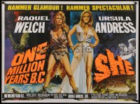 1g076 ONE MILLION YEARS B.C./SHE British quad 1960s Raquel Welch & Ursula Andress, Chantrell art!