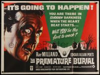 1g077 PREMATURE BURIAL British quad 1962 Edgar Allan Poe, Brown art of Ray Milland buried alive!