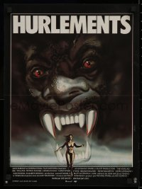 1g009 HOWLING French 16x21 1981 Joe Dante, creepy Michel Landi art of woman running from monster!