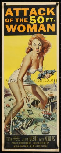 1g085 ATTACK OF THE 50 FT WOMAN insert 1958 iconic Reynold Brown art of enormous Allison Hayes!