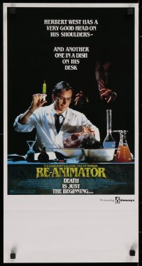 1g014 RE-ANIMATOR Aust daybill 1986 image of mad scientist Jeffrey Combs with severed head in bowl!