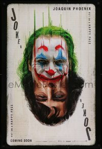 1g149 JOKER recalled teaser DS 1sh 2019 Phoenix as the DC Comics villain, poker playing card art!