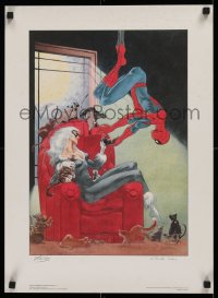 1g031 SPIDER-MAN signed 17x23 Canadian art print 1988 by Stan Lee AND artist Charles Vess!