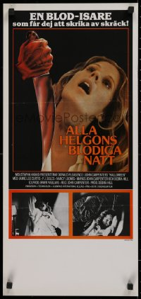 1g001 HALLOWEEN Swedish stolpe 1979 John Carpenter classic, different image of P.J. Soles attacked!