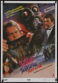 1g048 THEY LIVE Thai poster 1988 Rowdy Roddy Piper, John Carpenter, different Tongdee art!