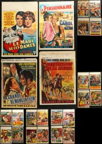 1m040 LOT OF 28 FORMERLY FOLDED BELGIAN POSTERS 1950s-1960s images from a variety of movies!