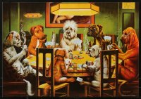 1m039 LOT OF 5 UNFOLDED DOGS PLAYING POKER 19X27 COMMERCIAL POSTERS 1990s great art by Dom!
