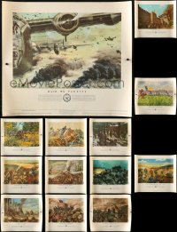1m036 LOT OF 14 UNFOLDED US ARMY IN ACTION 21X24 SPECIAL POSTERS 1953 art of battles in history!