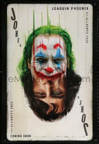 1r685 JOKER recalled teaser DS 1sh 2019 Phoenix as the DC Comics villain, poker playing card art!