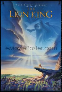 1r708 LION KING DS 1sh 1994 Disney Africa, John Alvin art of Simba on Pride Rock with Mufasa in sky