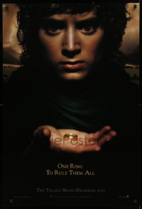 1r713 LORD OF THE RINGS: THE FELLOWSHIP OF THE RING teaser DS 1sh 2001 J.R.R. Tolkien, one ring!