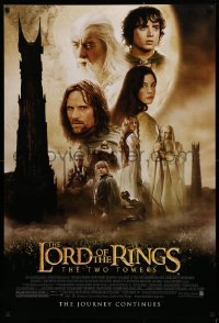 1r721 LORD OF THE RINGS: THE TWO TOWERS DS 1sh 2002 Peter Jackson epic, montage of cast!
