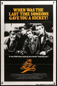1r722 LORDS OF FLATBUSH int'l 1sh 1974 cool portrait of Fonzie, Rocky, & Perry as greasers in leather